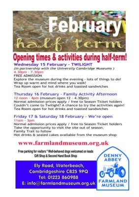 Opening Times For February Half-Term