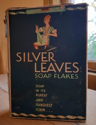 Cardboard box of Silver Leaves soap flakes