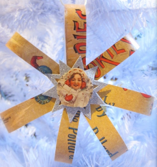 Snowflake decoration made from recycled Christmas cards